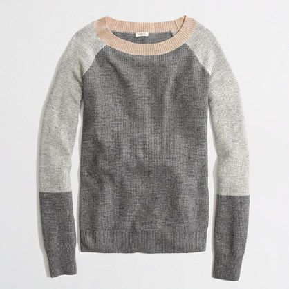 Factory warmspun waffle colorblock sweater - crewnecks & boatnecks - FactoryWomen's Sweaters - J.Crew Factory