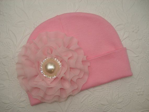 Pink Infant Baby Girl Beanie Hat with Chiffon by MyLolliflopsLLC, $8.99