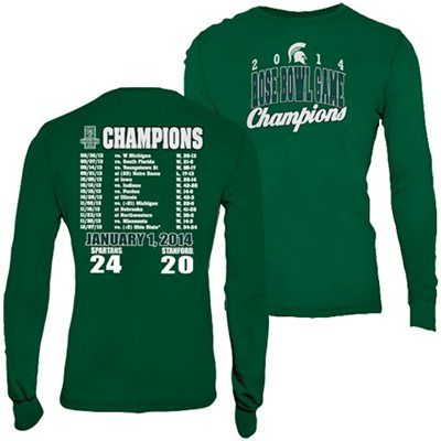 Michigan State Spartans 2014 Rose Bowl Champions Score Long Sleeve T-Shirt - Green