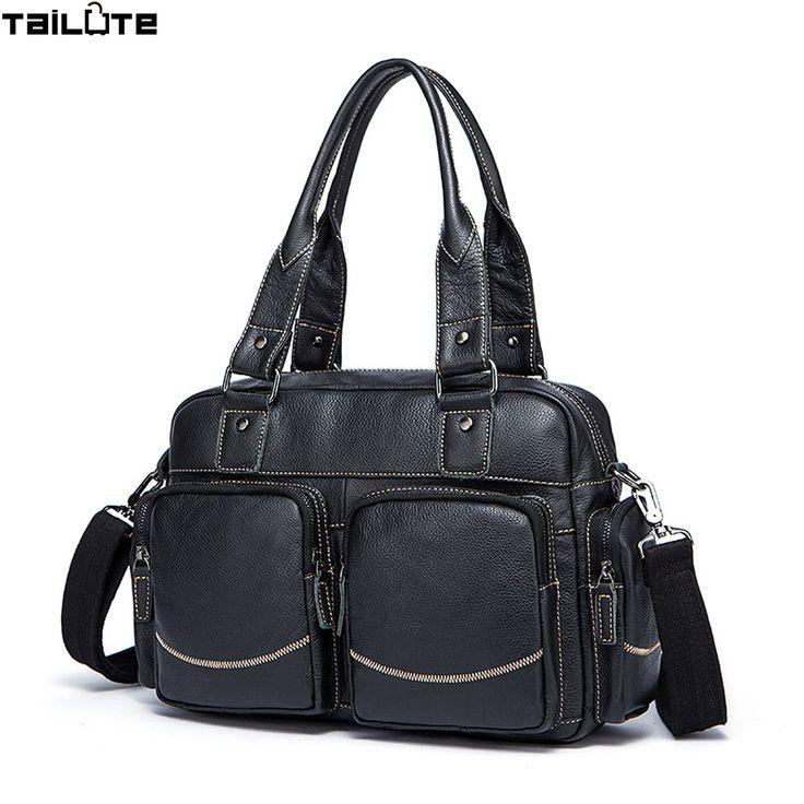 TAILUTE 100% Genuine Leather Men's Travel Bags Large Capacity Men Messenger Bags Handbags Men's Shoulder Bags duffle bag men