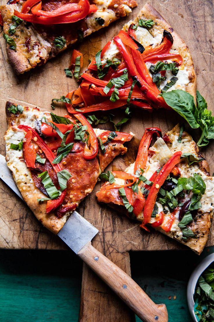Mediterranean Roasted Red Pepper Pizza   halfbakedharvest.com @hbharvest