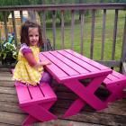 I want to make this!  DIY Furniture Plan from Ana-White.com  For children's spaces that have a slightly more moderm flair. This X table and benches are kid's height, perfect for an afternoon picnic or a tea party. Special thanks to our readers for sharing their photos.