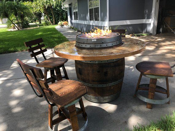 Wine Barrel Patio Table Fire Pit With Chairs Etsy In 2020 Wine Barrel Fire Pit Barrel Fire Pit Fire Pit
