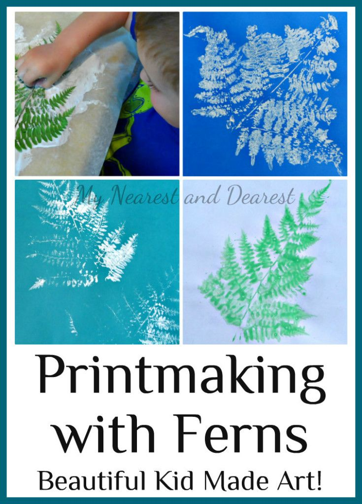 Printmaking with ferns. Simple and beautiful  art for kids