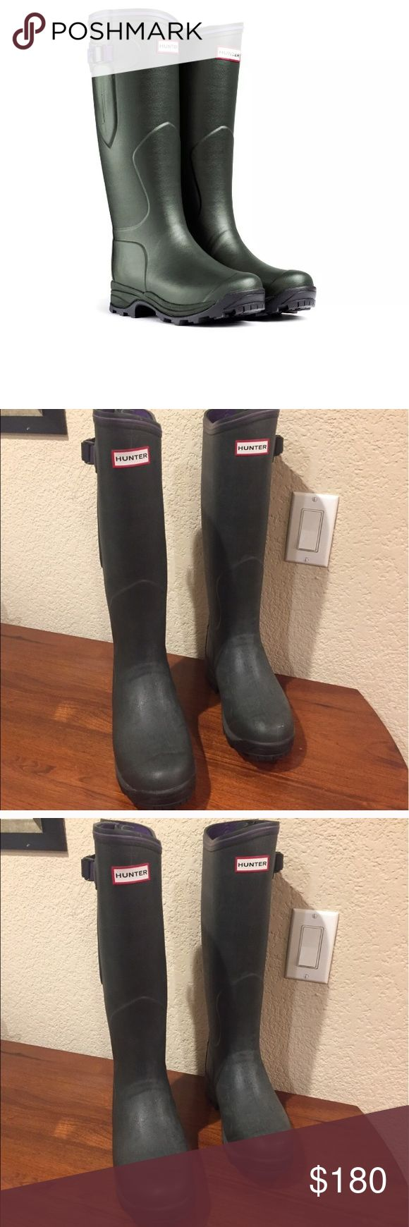 Hunter equestrian neoprene boots NWOB Hunter balmoral neoprene lined boots NWOB brand new never worn boots hunter green with purple adorable and warm! Perfect for spring! ☔️ euro 39 Hunter Shoes