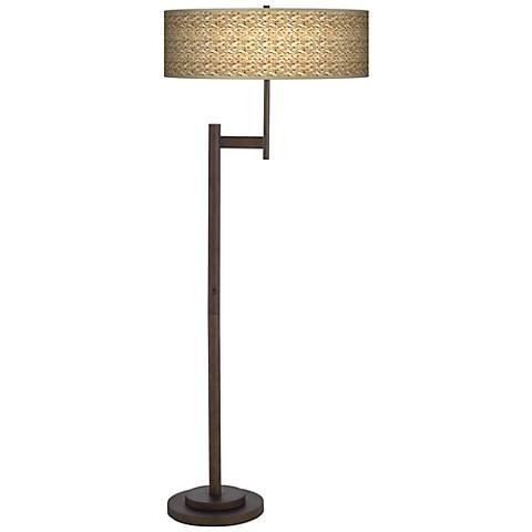 Seagrass Print Parker Light Blaster Bronze Floor Lamp
