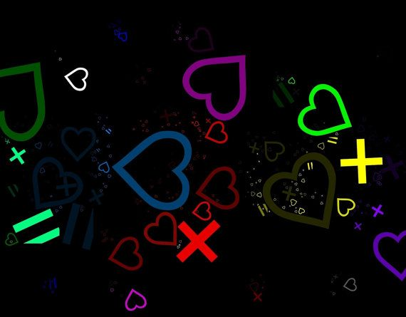 Heart + Heart = 2 Hearts (+=❤❤) Abstract Wall Art Print.