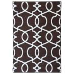 Rose Collection Contemporary Geometric Trellis Design Brown 3 ft. 3 in. x 4 ft. 7 in. Non-Skid Area Rug