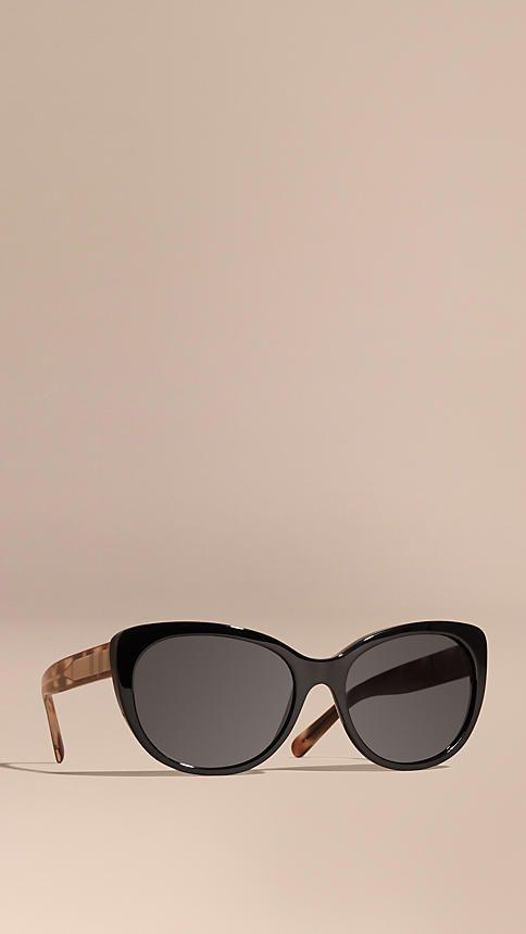 Black Check Detail Cat-eye Polarised Sunglasses - Image 1