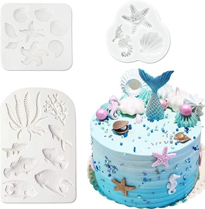 Sea Fish Coral Silicone Cake Fondant Sugarcraft Mould Chocolate Baking Mold Tool