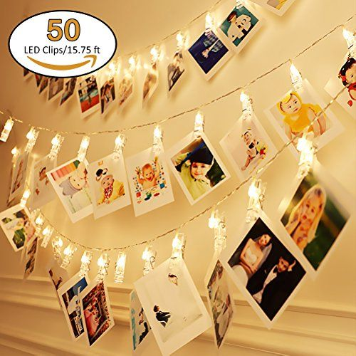 50 LED Photo Clips String Lights, Poscoverge Christmas Indoor String
