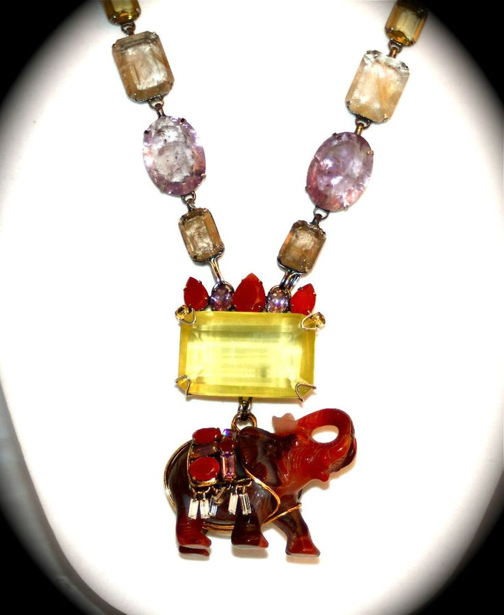 IRADJ MOINI necklace-genuine Cornelian/amethyst/citrine 18K antique gold-plating