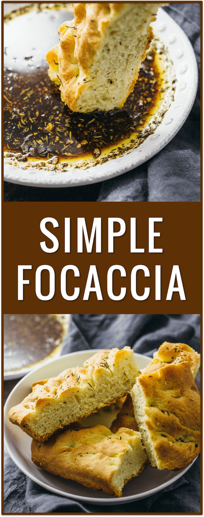 Simple focaccia bread, Italian dipping oil sauce, appetizer bread, baking, dough, easy, simple, recipe, vegan, vegetarian, restaurant style, spices, toppings via @savory_tooth
