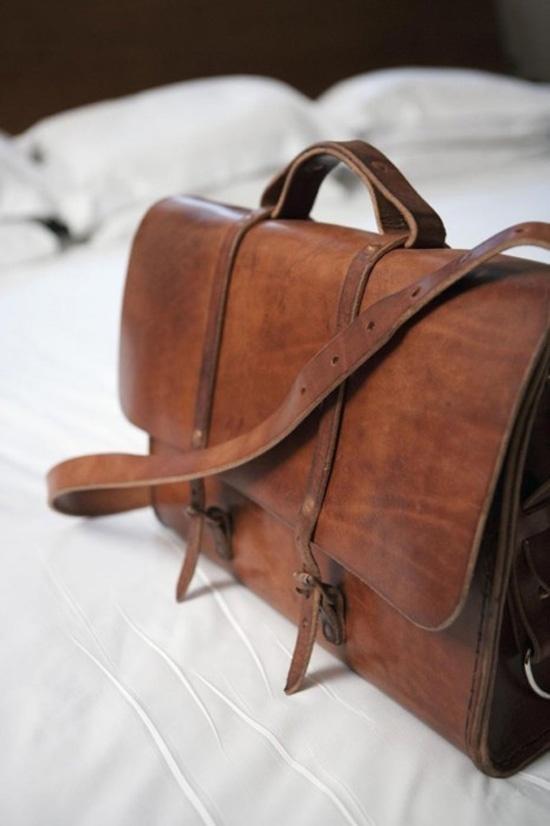 Aged leather messenger bag brown