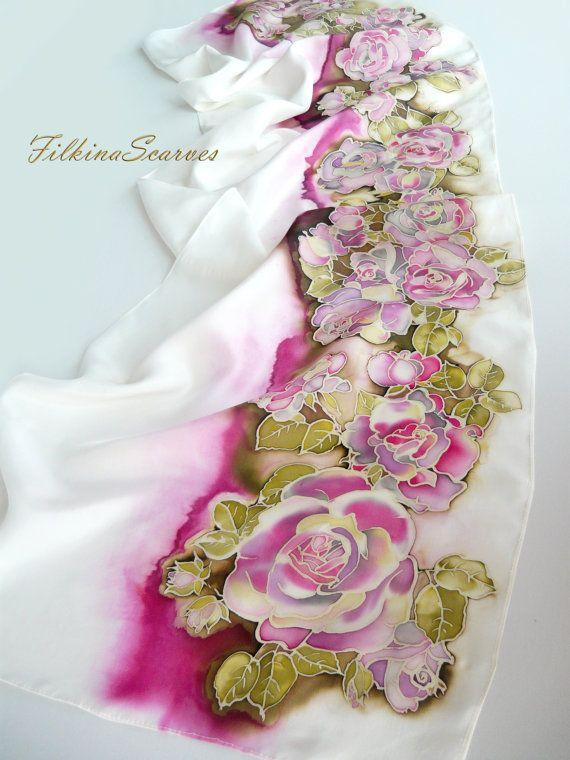 Silk Square Scarf - PINK ROSES by VIDA VIDA bT8UgytkqK