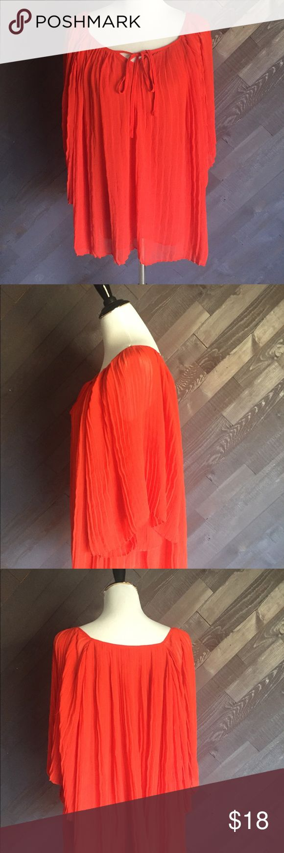 Forever 21 Red Pleated Blouse 🌹🌹🌹 Forever 21 Red pleated peasant style blouse in good condition has a small rip in the lining but it's not seen when you are wearing it, see pic. Measures 27 Long. Forever 21 Tops Blouses