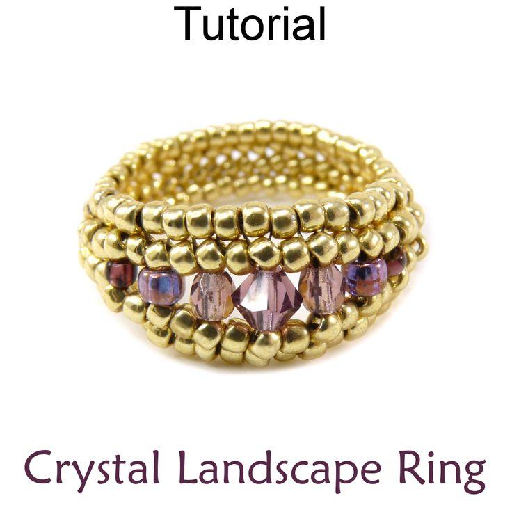 Beaded Crystal Landscape Ring Herringbone Beading Pattern Tutorial | Simple Bead Patterns