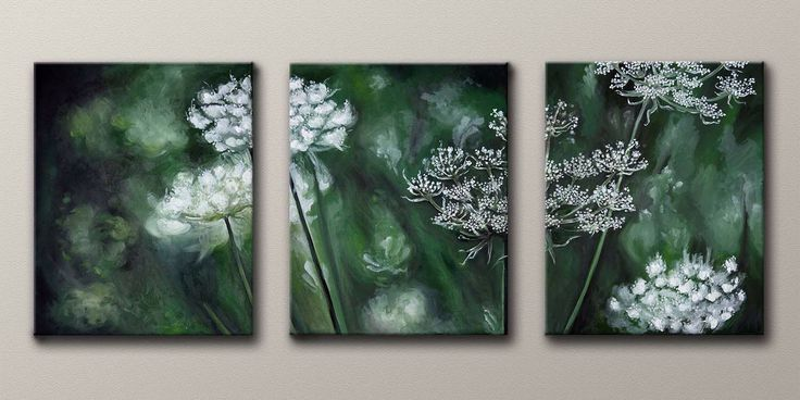 This printable and original, one-of-a-kind oil painting trio, is great for home decor, gifts, and more! You can choose to print and frame these or you can even order canvas prints of these to hang in your home.  Etsy shop https://www.etsy.com/listing/488025313/queen-annes-lace-original-3-panel-oil