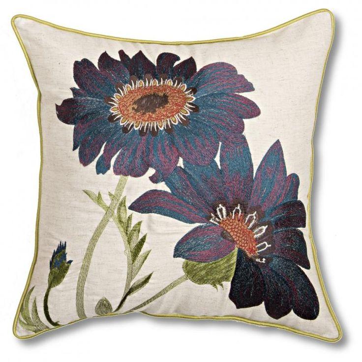 Teal Gerbera Cushion - Vista Blinds HIGH QUALITY embroidered faux linen cushions. 45cm x 45cm.