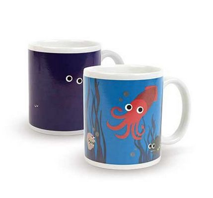Kikkerland Under The Sea Morph Mug: Just add your favourite hot beverage and watch these mugs morph right before your eyes. Made of thermographic inks, these mugs react to heat, revealing new and fun artwork. As your beverage cools, the graphics change back to their original state.
