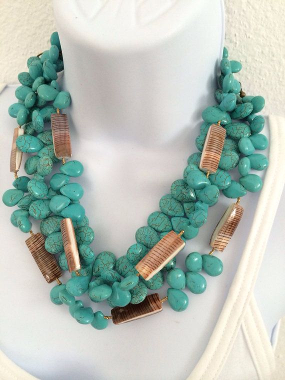 Turquoise howlite and shell three necklace statement by ofearth, $75.00