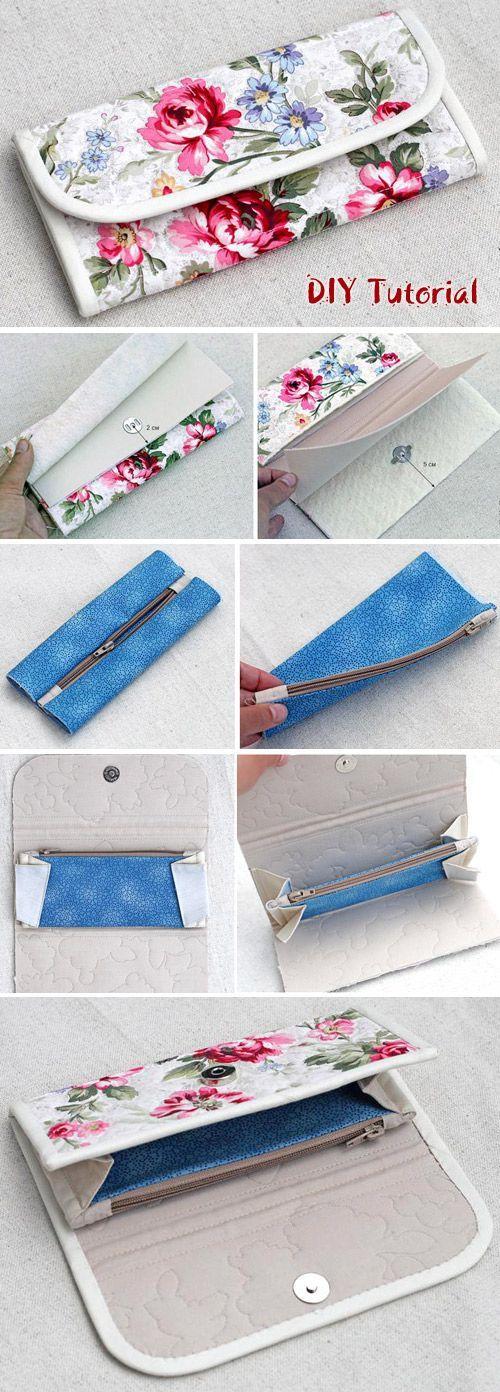 Accordion Women's Wallet / Clutch DIY Sewing Tutorial. http://www.free-tutorial.net/2016/12/accordion-fabric-wallet-tutorial.html #diyhandbag