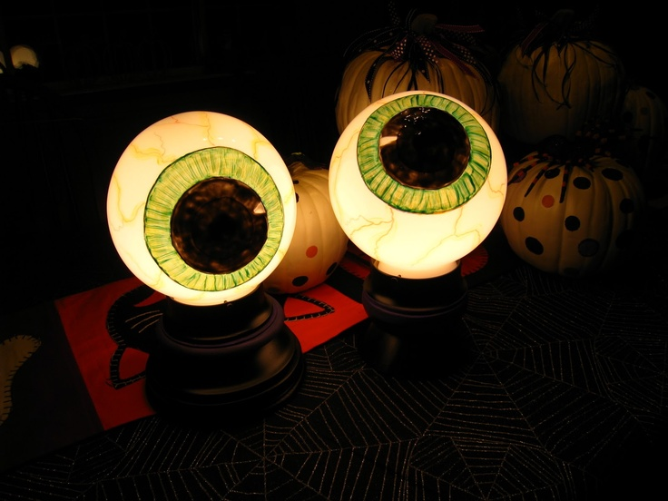 globe from ceiling fixture lighted eyeballs tutorial next halloween for our gate lights - Cheap Halloween Crafts