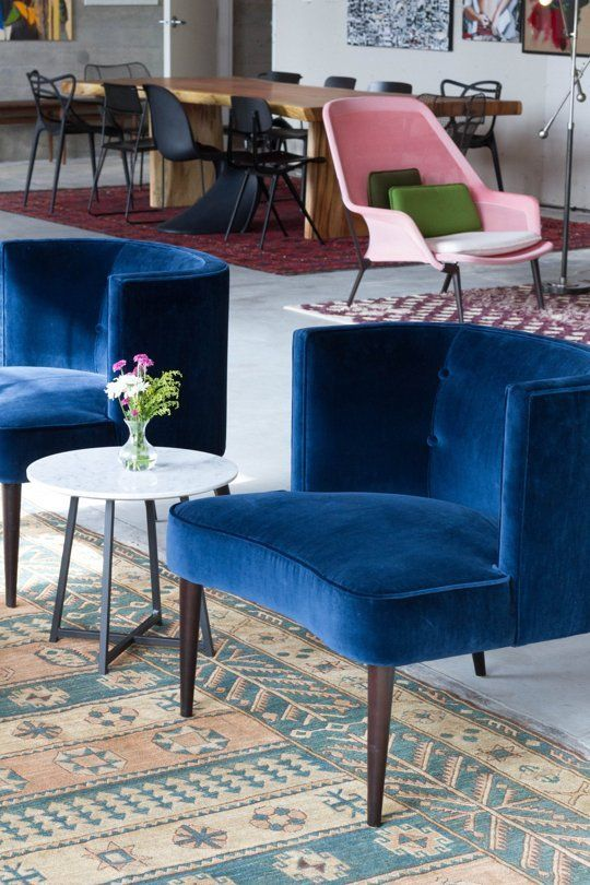 I am in love with this blue. #velvetfabric #upholsteryinspiration, #chairideas bar stool, sofa, dining chair. See more at http://www.brabbu.com/en/inspiration-and-ideas/category/products