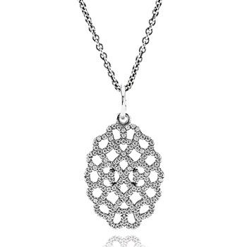 PENDANT PANDORA SHIMMERING LACE STERLING SILVER CUBIC ZIRCONIA SET ON ADJUSTMENT CHAIN 90CM - Jons Family Jewellers
