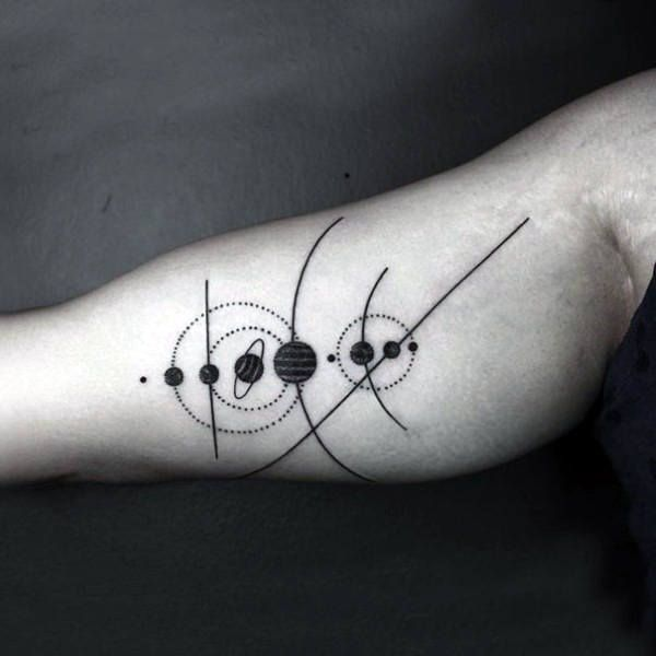 unique Geometric Tattoo - Mens Black Solar System Tattoo On Forearms...
