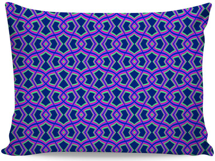 Diamond Shapes on Blue Pillow Case by Terrella