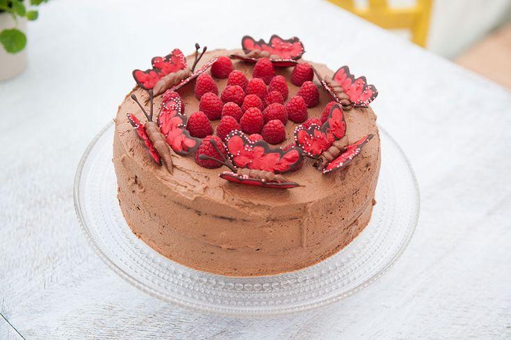 Helenes sjokoladekake med bringebær og sjokoladekrem