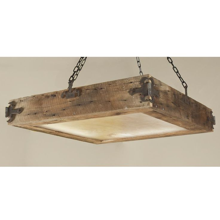 Reclaimed Wood Ceiling Light. I hate hate hate platform kitchen ceiling lights. but i love love love this. pathetically low ceilings in my domicile mean no chains for me, but i'll be making one of these to flush mount in the new kitchen with galvanized fittings.