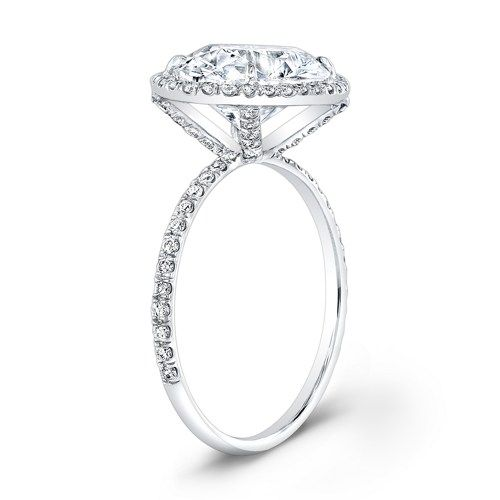 Elongated Solitaire Halo Micro Pave 14kt White Gold Thin