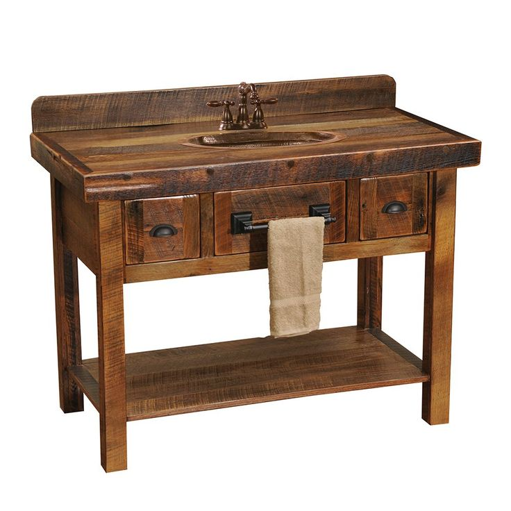 Shop Fireside Lodge Furniture B33450 Barnwood Two Drawer Open Shelf Vanity  Without Top At ATG Stores