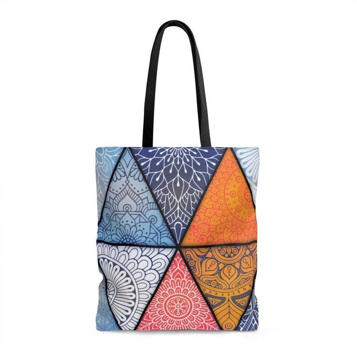 Designed by our own team to make you look awesome! This pattern is designed to offer a visual balance of elements that symbolize harmony and unity. This practical high quality Tote Bag is available in three sizes. The bag provides comfort with style on the beach or out in town. Made from reliable materials, lasting for seasons. #mandala #gypsy #hippie #boho #bohemian #tote_bag #shopping #bag