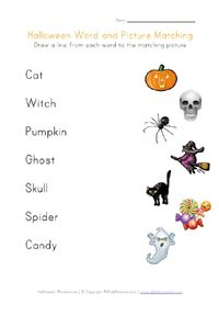 printable halloween word matching - Free Preschool Halloween Printables