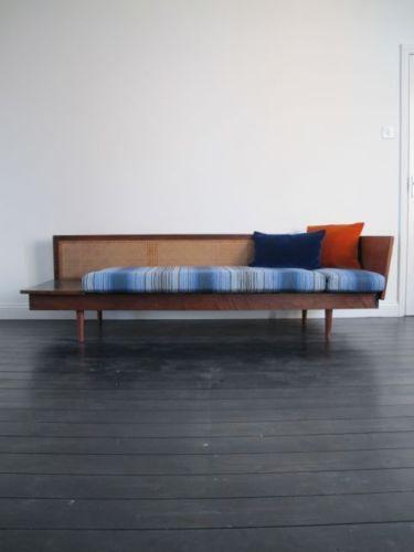 VINTAGE AFROMOSIA & CANE RE-UPHOLSTERED DAYBED 1960's retro sofa danish teak   eBay