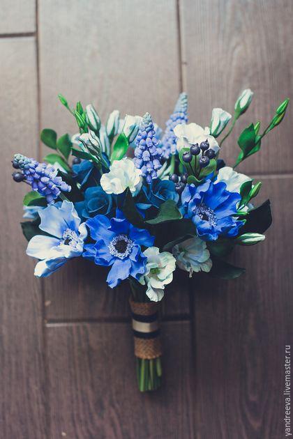 """Свадебные цветы ручной работы. Ярмарка Мастеров - ручная работа. Купить Букет невесты """"Лазурный берег"""". Handmade. Синий"""