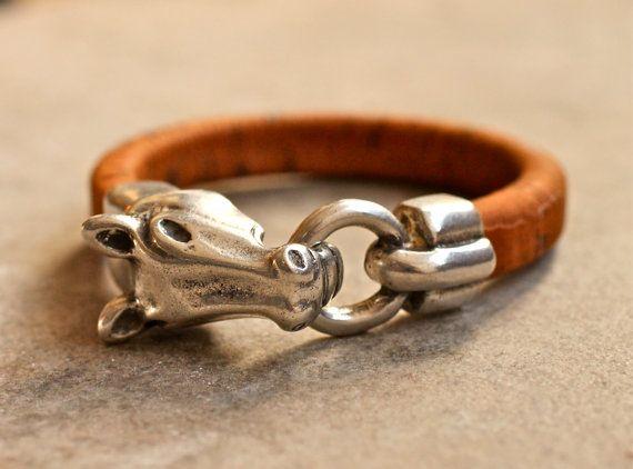 Horse Bracelet  Cork Bangle  Equestrian Jewelry  por amyfinedesign