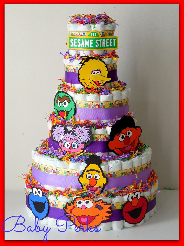 Sesame street diaper cake baby shower decorations pinterest sesame streets diaper cakes - Sesame street baby shower ...