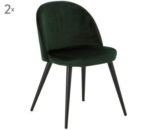 Fluwelen Stoel Groen : Met fluweel gestoffeerde stoel amy 2 stuks in het groen van