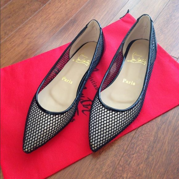 Pigaresille Fishnet Flats 8.5 Red Soles Selling Fishnet Flat shoes with red soles. Made in China: very good looking. Would fit size 8.5 Bran new in Box and Red dustbag. Fishnet fabric is over clear plastic , with patent leather back. Shoes Flats & Loafers