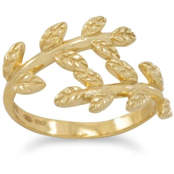 14 karat gold plated wreath ring (135 BRL) ❤ liked on Polyvore featuring jewelry, rings, 14 karat gold ring, band jewelry, 14 karat ring, sterling silver jewellery and 14k jewelry