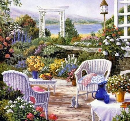 'On The Patio'  ~ Barbara Rosbe Felisky