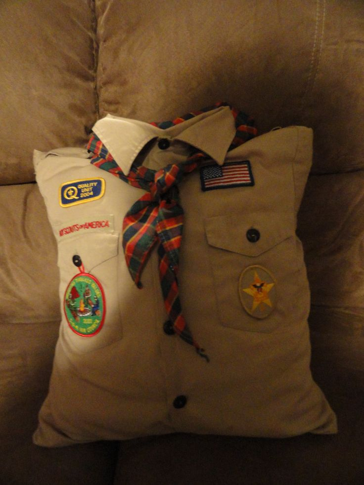 Boy Scout Shirt Pillow-Love this idea. Think I wll use it for my son's shirt he just grew out of.