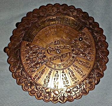 Buy Awesome Wartime, Vintage Solid Brass 40 Year Perpetual Calendar. 1938 - 1977. 13 cm Diameter. for R1.00