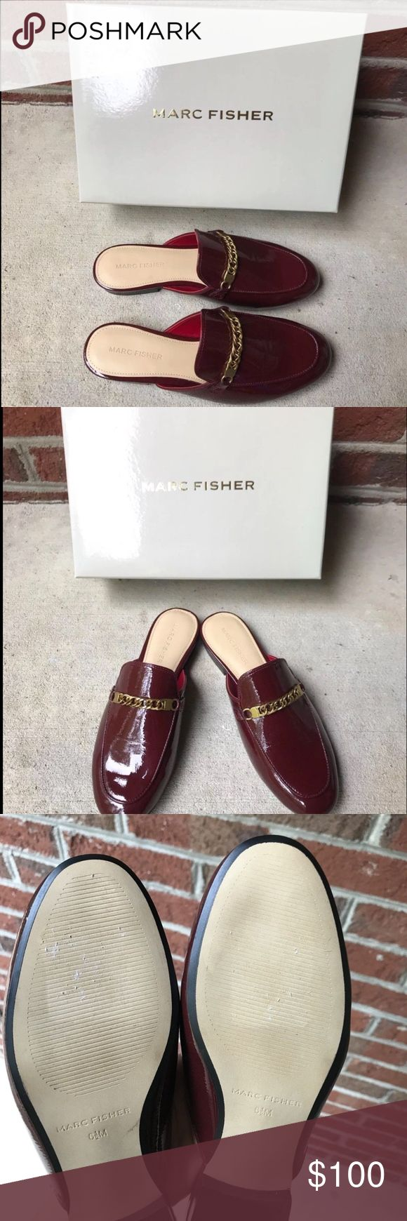 "Marc Fisher Whiley Women's Mule Burgundy SZ 6.5 New no box  Never worn   Bottom of shoe had a tag that was removed at store. Please let me know if you have any questions.  A must-have this season is the Whiley women's mule by Marc Fisher. Its patent upper and chain-link hardware accent make this mule a perfect match for your favorite outfit.  •	Patent upper  •	Metal hardware accent  •	Slip-on entry  •	Heel height: ¼""  SKU- 0191408144370 Marc Fisher Shoes Mules & Clogs"