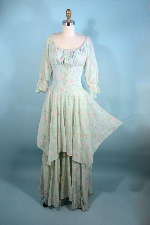 796a87d030a Rare Vintage 70s Gunne Sax Black Label Boho Chic Maiden Dress  Mint Green  Floral Tiered Skirt  Hippie Music Fest…