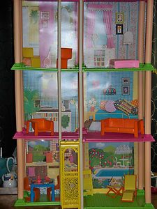 1970S BARBIE TOWNHOUSE 3 STORY W/ ELEVATOR, ORIGINAL BOX, N FURNITURE 3.5  FEET